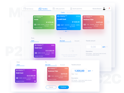 Drag and Drop method as a money transfer solution banking card manage cards dashboard financial dashboard ui design ui ux drag  drop drag and drop ux design ux solution c2c p2p banking app web app cards finance app money transfer money banking fintech