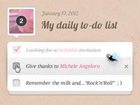 Daily to-do list widget