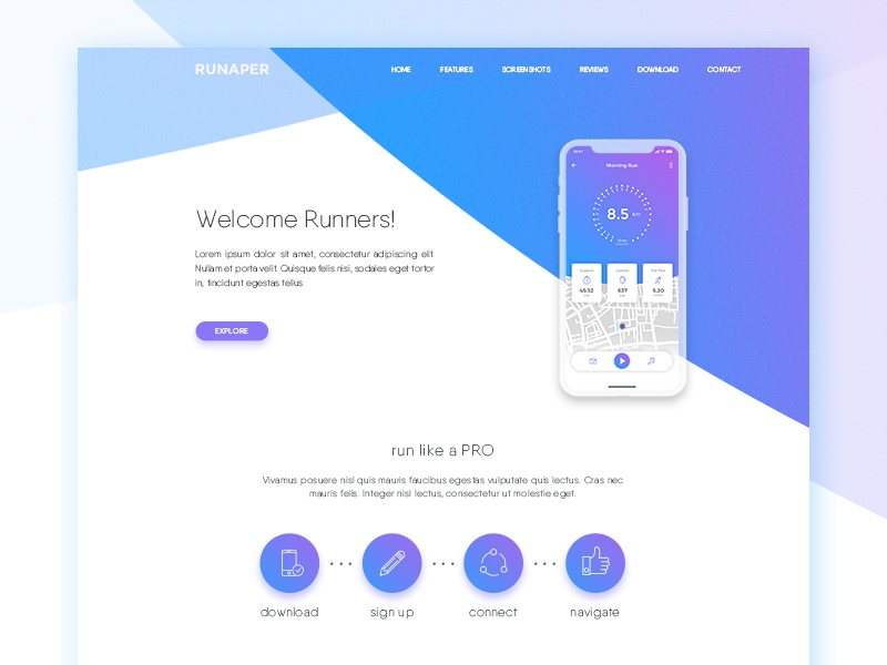 Running app Landing Page