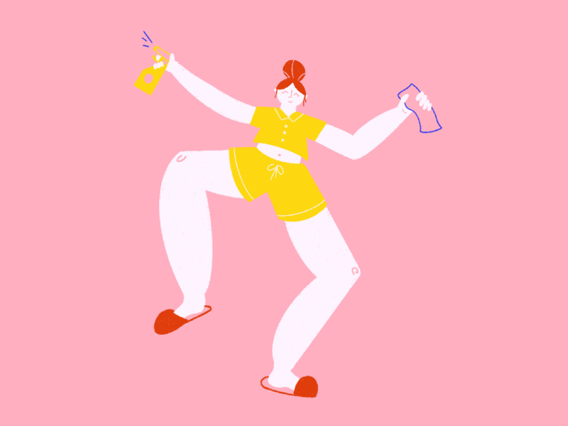 The Disinfecting Boogie Woogie woman dance spring clean cleaning coronavirus geometric doodle photoshop color girl design character illustrator vector illustration