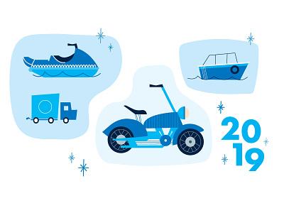 Transportation calendar jet ski motorcycle truck boat exploration illustration concept vehicles