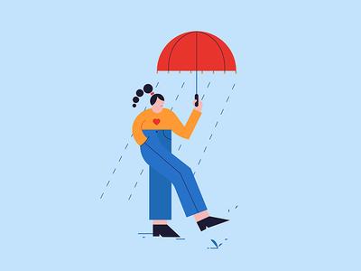 Rain Drops umbrella rain geometric doodle color photoshop girl texture design character vector illustrator illustration