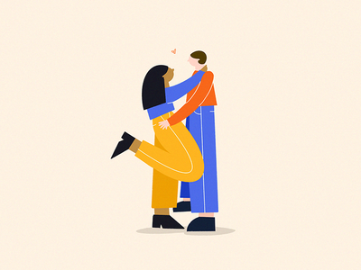 Love is in the air procreate romance valentines day love woman man couple geometric color texture design character illustration