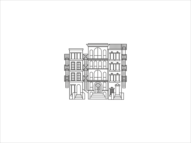 Row houses nyc rowhouses illustration