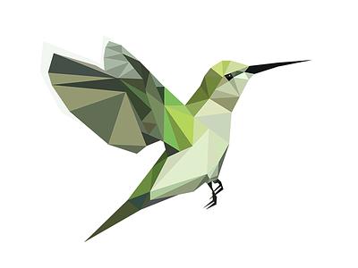 Triangulate Hummingbird bird green geometric cute animal artwork triangles illustration hummingbird