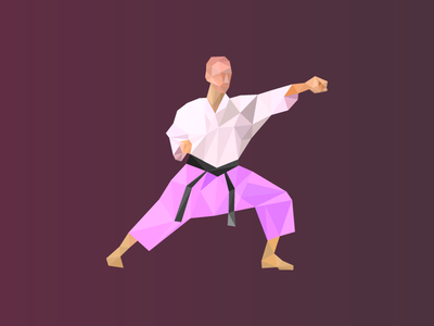 Karate Man purple vector blackbelt martial arts karate triangulation triangles illustrator