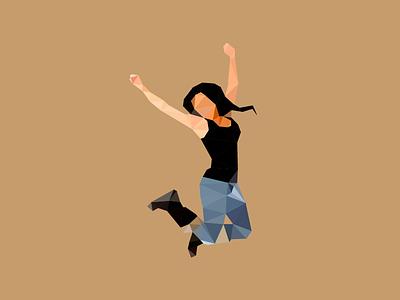 Jumping Girl Triangulated vector jumping girl triangulation triangles illustrator
