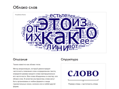 Russian Word Cloud (Облако слов) Reference Page type typography web design web website cyrillic russian infographic data visualization dataviz data word cloud