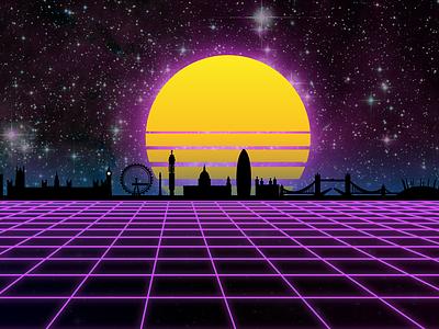 Virtual London - First attempt at Vaporwave / Synthwave Art cyber skyline london retro vr artwork virtual digital vaporwave synthwave retrowave