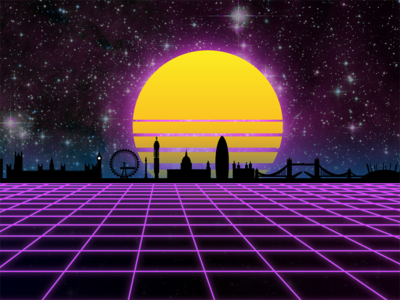 Virtual London - First attempt at Vaporwave / Synthwave Art cyber skyline london retro vr artwork virtual digital vaporwave synthwave retrowave