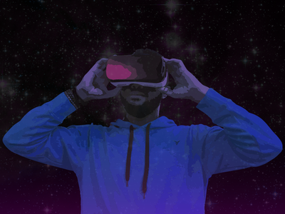 VR Man Illustration virtual reality cyber retro vr artwork virtual digital vaporwave synthwave retrowave
