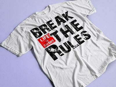 Break The Rules Typography T-shirt ux ui art shirt branding motion graphics fashion vector t-shirt logo illustration graphic design design