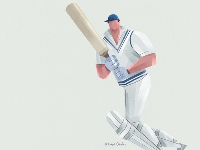 Cricket Illustration visualdesigner dribble shot sportillustration cricket app visual character vector ux webdesign illustration ui design