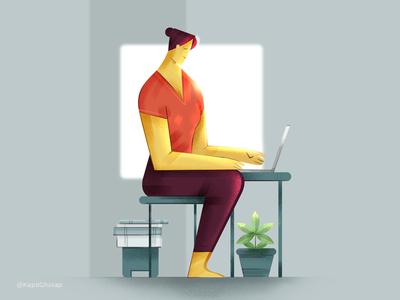 WFH Illustration design vector flat uiuxdesign uidesigner dribble shot wfh branding ui visual illustration design