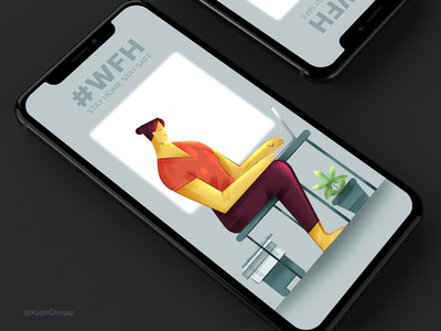 #WFH app design lockdown wfh dribble shot application web app ux ui flat branding character design illustration
