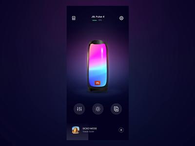 #21 Speaker Control -  Change Lights Theme element3d music clean motion aftereffects 3d jbl light control app ui interactive mobile interaction speaker ux ui animation
