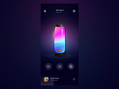 #21 Speaker Control -  Change Lights Theme element3d music clean motion aftereffects 3d jbl light control app ui interactive mobile interaction speaker ux ui animation