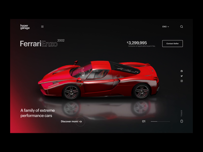 Car Commercial Site Scrolling landing page ui motion ecommerce website scroll dark theme ferrari interface after effects interaction ui ux ui interactive clean 3d car automative animation