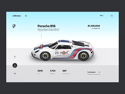 Car Website Animation ecommerce product web design website porsche 3d car automative interface app interaction ui clean interactive ux ui animation