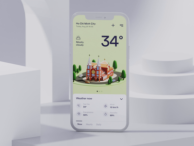 #28 Weather App Interaction forecast weather 3d illustration blender 3d illustration design app interaction ui clean interactive ux ui animation