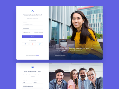 Konned – Sign in & Sign up website vietnam designer vietnam ux ui saigon konned interactive education sign up login sign in