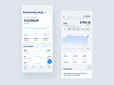 #9 Invest Management clean uidesign mobile ui interface app funding fund sketch mobile invest stock management dashboard