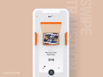 #10 Shoe Boxes - Swipe Transition sneaker app mobile app design ecommerce nike aftereffects clean design animation ui interactive ux ui transition swipe box shop shoe