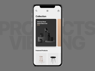 #14 3D Products Viewing Interaction clean interactive slide app design dark theme transition ux ui ui interface after effects viewing black product animation mobile app application eccomerce interaction 3d