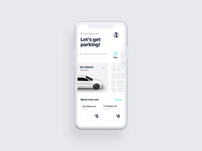 #18 Parking Interaction Concept interaction after affects purchase payment location spot booking 3d after effects animation white clean map mobile app design reserve book face id car parking