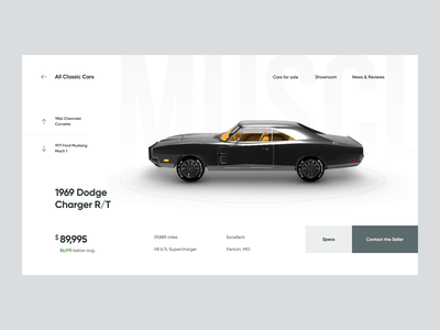 Car Specs - Transition 3d after effects micro animation micro interaction eccomerce web design ux ui interface dodge minimal classic vehicle car transition interaction interactive animation clean website