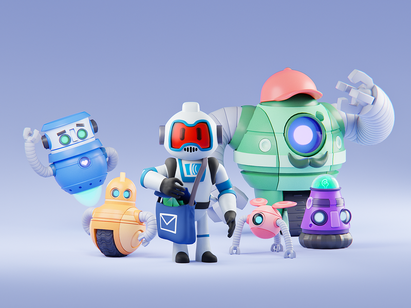AJ & The Automations team group squad characters automations automation robots bots branding concept branding design branding 3d art 3d modeling render illustration 3d blender b3d