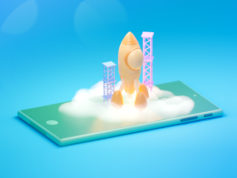 Mobile Launchpad 3d icons icon icons 3d illustration 3d art 3d modeling render illustration 3d blender b3d android iphone rockets phones rocketship rocket