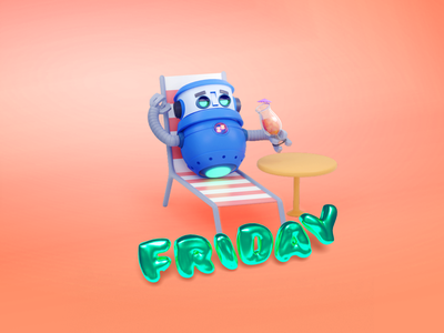 Happy Friday friday beachball sun beach chair automation email 3d art 3d modeling render illustration blender b3d 3d beach bots robot