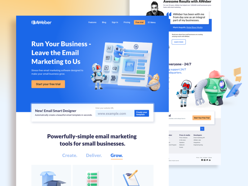 AWeber Homepage Redesign refresh home page 3d modeling illustration 3d b3d marketing email robot bots robots homepagedesign landing page webdesign brand redesign homepage