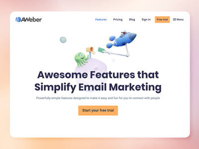 AWeber Features page & 3D Illustration saas design saas product galaxy email mail rocket planet iconography icons icon space alien aweber 3d illustration design web design features page
