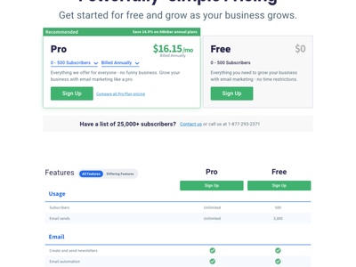 AWeber Pricing Page website design features price list pricing tables pricing plans pricing table ui design free product aweber marketing email webdesign website web design pricing plan price table pricing page pricing