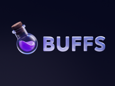 BUFFS 3D Logo Exploration spellbook icons iconography ui 3d logo logos fantasy magic spell icon 3d modeling logo render illustration 3d