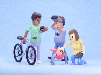 AWeber - Who we are | 3D Illustration vr bicycle bike roboto tech design web design b3d c4d mograph 3d animation people illustration people icons 3d icon people 3d art 3d modeling render illustration 3d