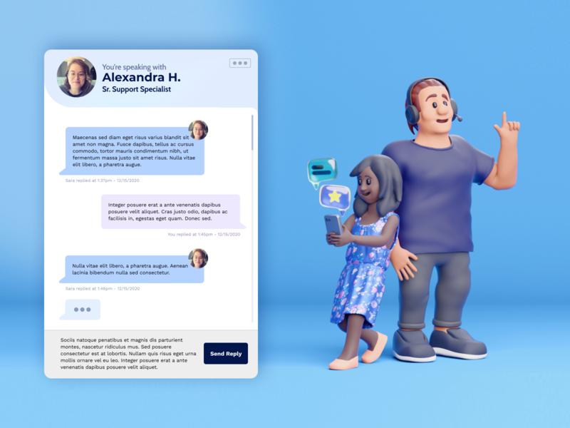 Support Team 3D Illustration render illustration people icons figma c4d b3d octane chat app chat depth web design ux 3d animation peeps people 3d art 3d 3d illustration