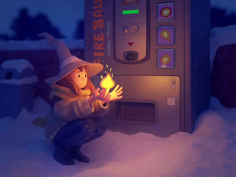 Fireballs 3d animation enviornment outdoors blizzard snack vending christmas snow winter fireball witch wizard 3d art 3d modeling render magic mage 3d illustration illustration 3d