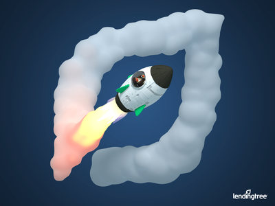 LendingTree Rebrand 3D Illustration #3 cloud smoke spaceship space rocket logo rocket man rocket lendingtree illustration cycles crane blender b3d 3d model 3d art 3d