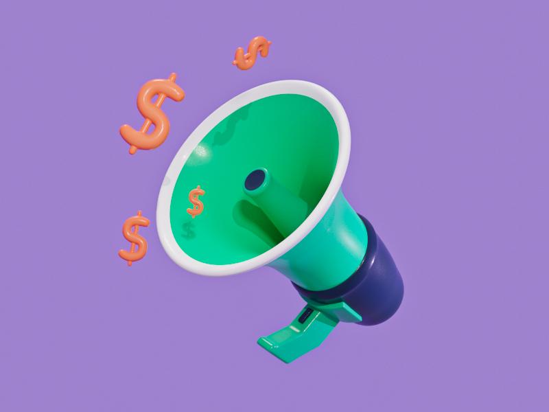 Money Megaphone money sound megaphone finance blender 3d modeling illustration 3d