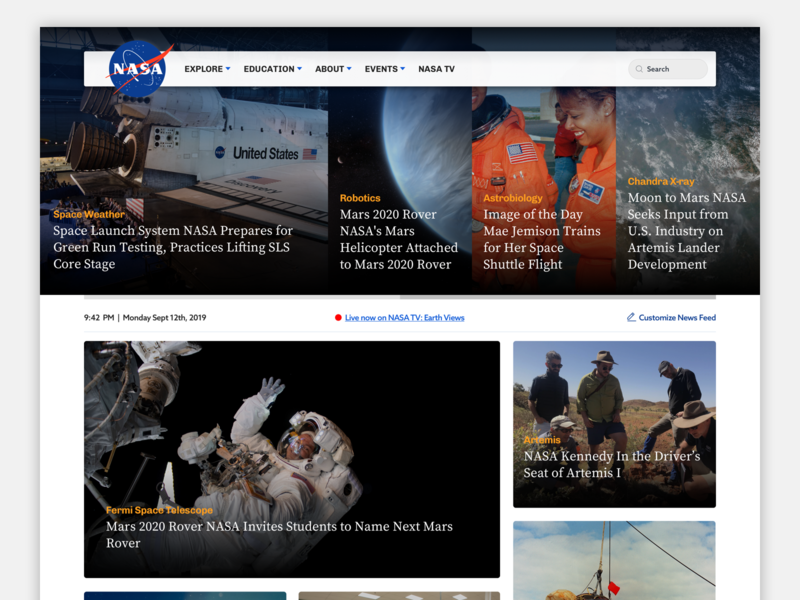Nasa Homepage Redesign