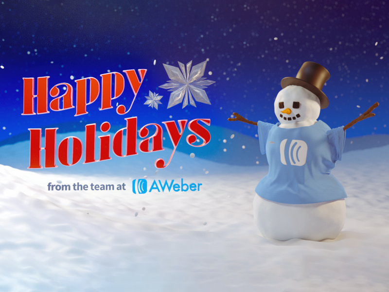 AWeber Holiday Card holidays christmas snow snowman holiday 3d art 3d model 3d modeling cycles render illustration 3d b3d blender