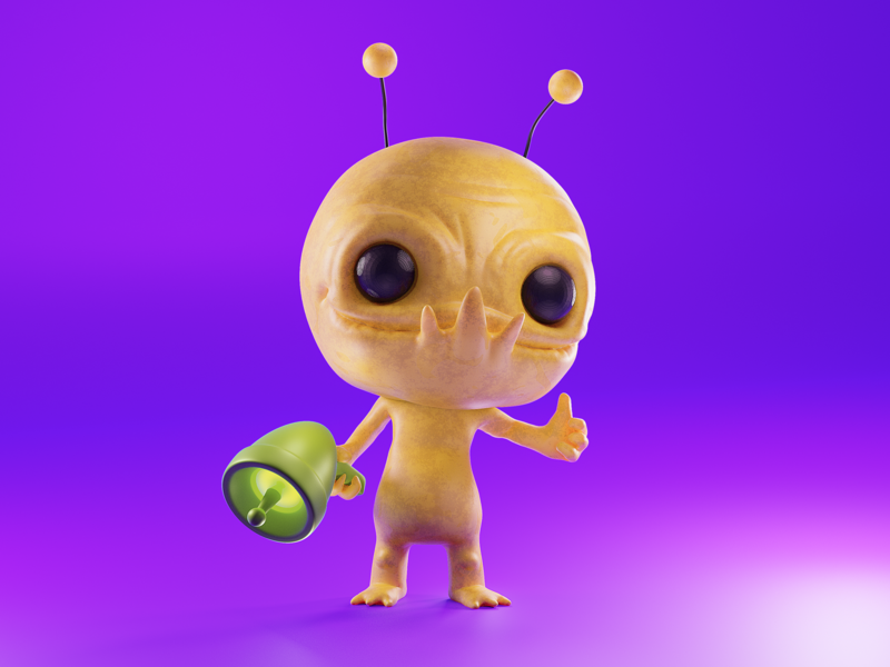 Alien Hominid 3d modeling cycles render illustration 3d b3d blender gamecube newgrounds gaming video games behemoth alien