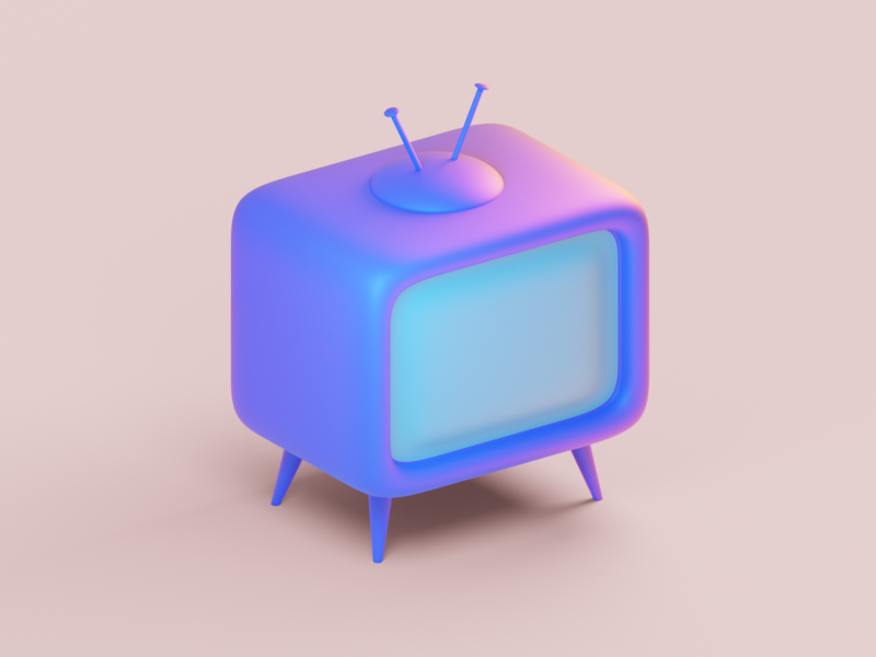 TV television design 3d art 3d modeling cycles render illustration 3d b3d blender tv icon