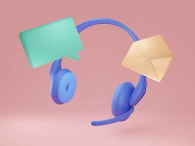 Customer Service 3D Icons icons help customer service customer email 3d model 3d art 3d modeling cycles render illustration 3d b3d blender