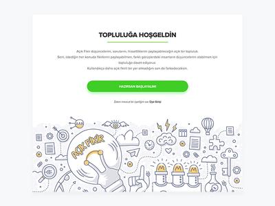 Online Community Welcome Landing Screen