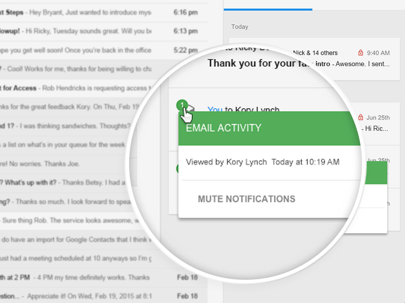 Email Tracking material design crm chrome extension notification email gmail