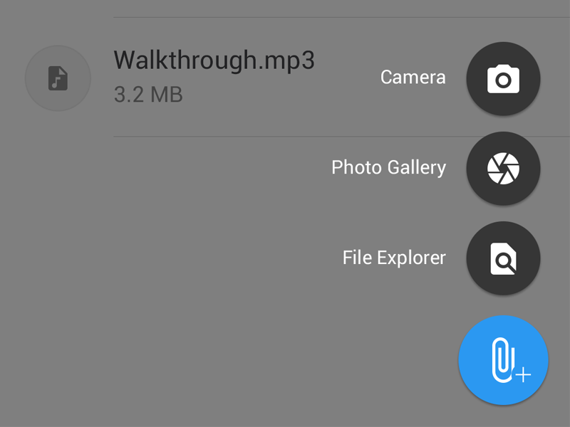 Uploading File on Android material design file explorer prosperworks mobile crm camera photo upload files android